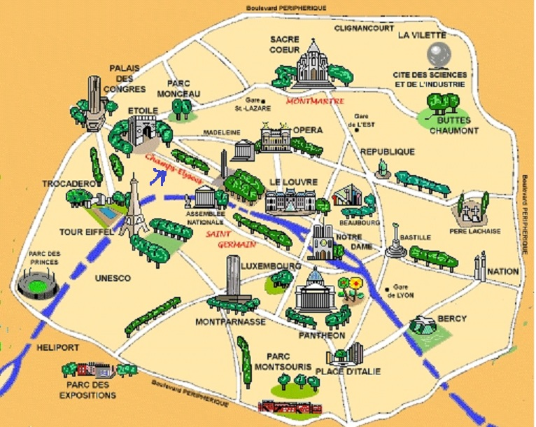 Tourist map of Paris